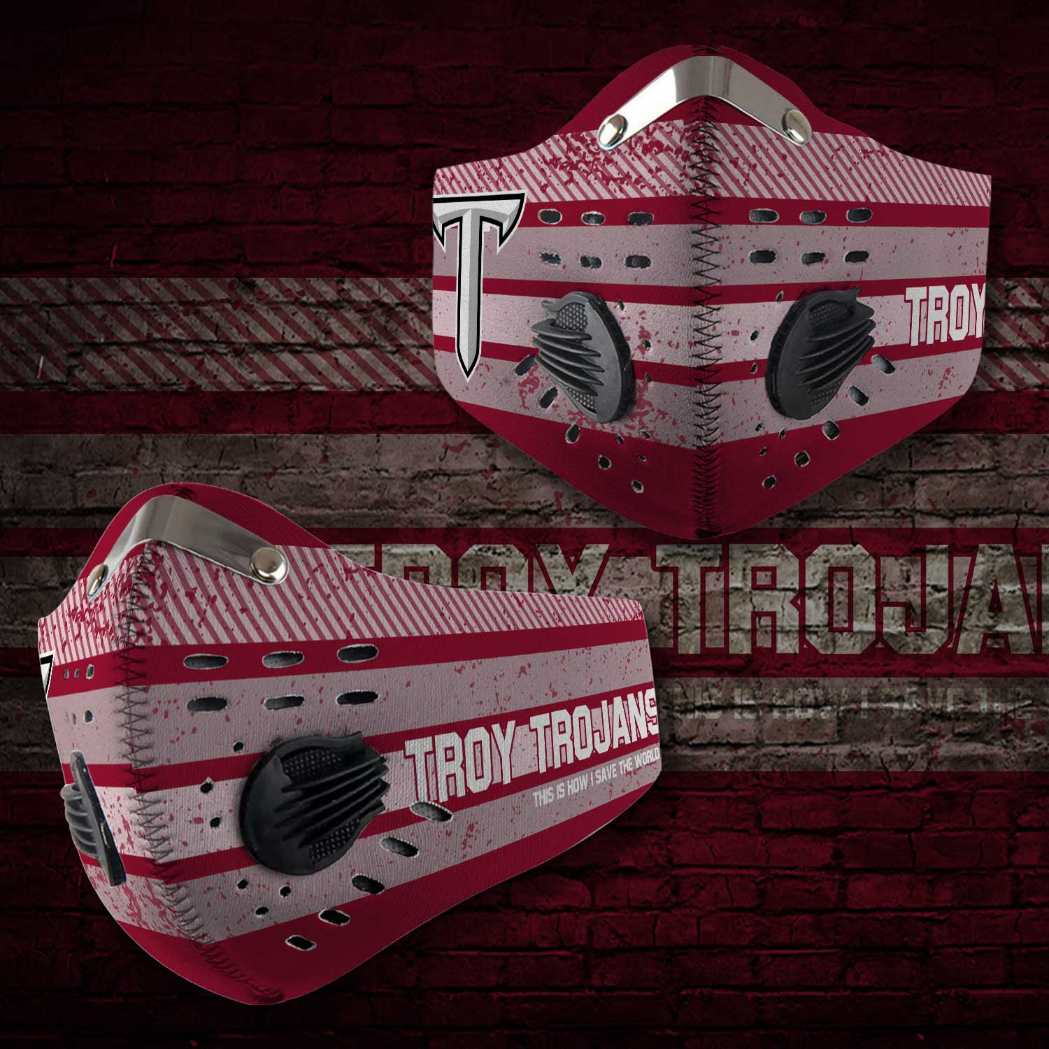 Troy trojans this is how i save the world carbon filter face mask 2