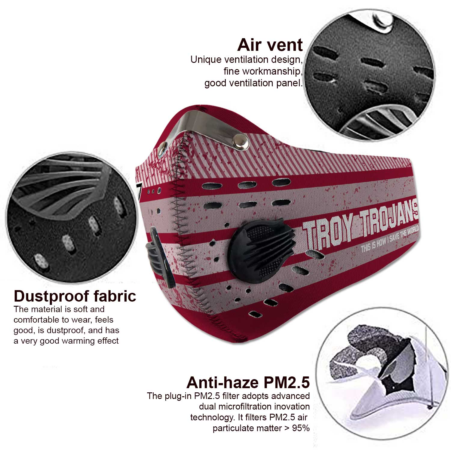 Troy trojans this is how i save the world carbon filter face mask 3
