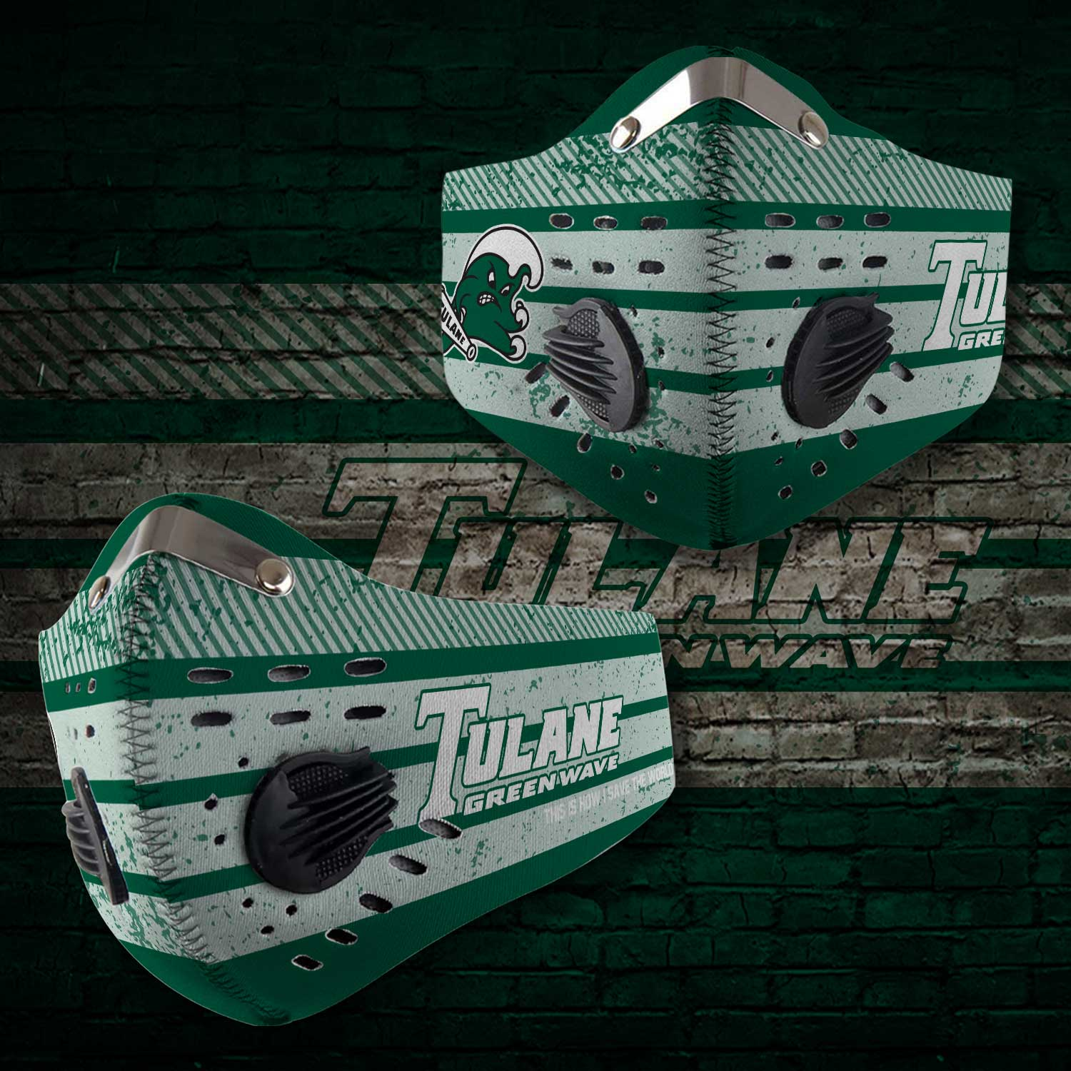 Tulane green wave carbon filter face mask 2