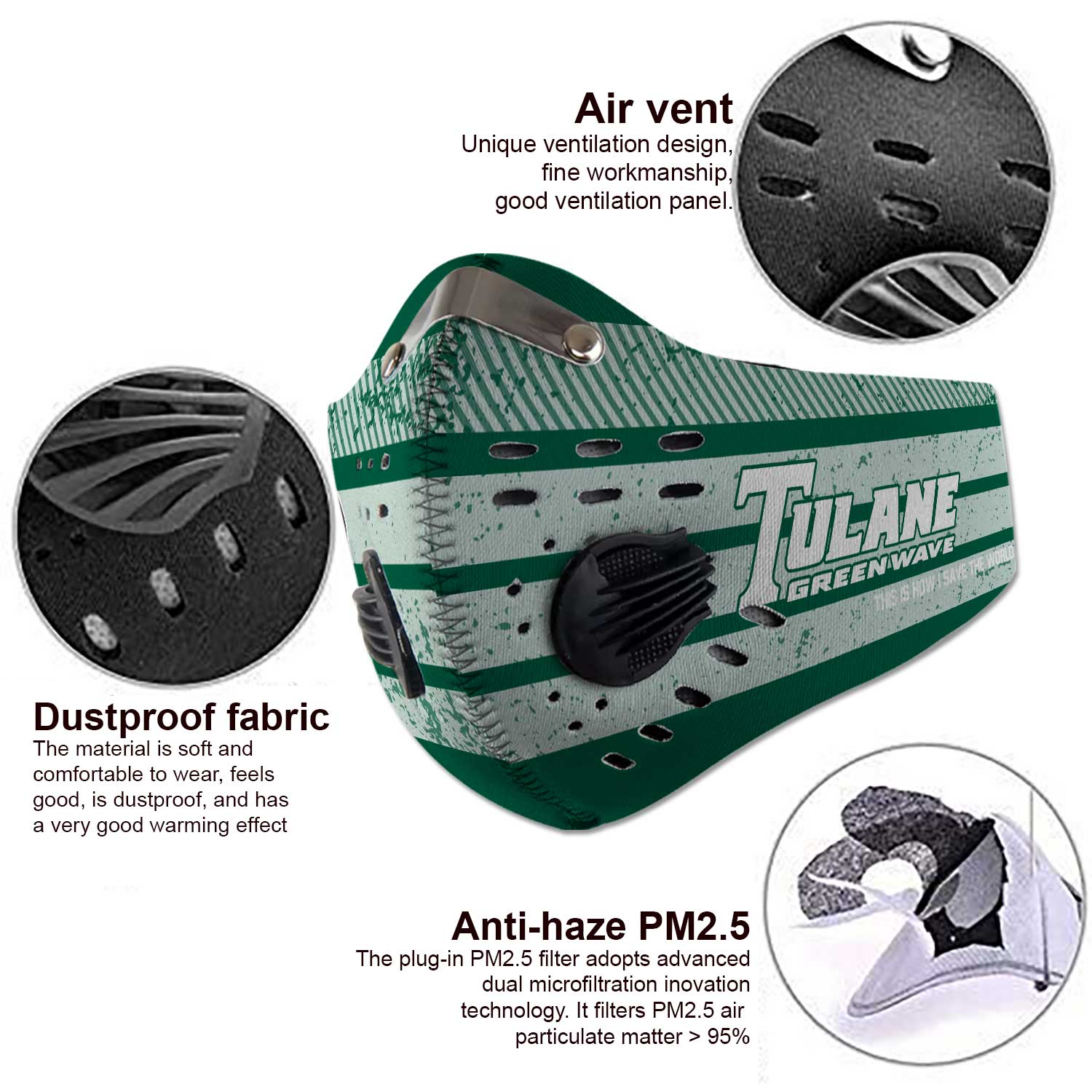Tulane green wave carbon filter face mask 3