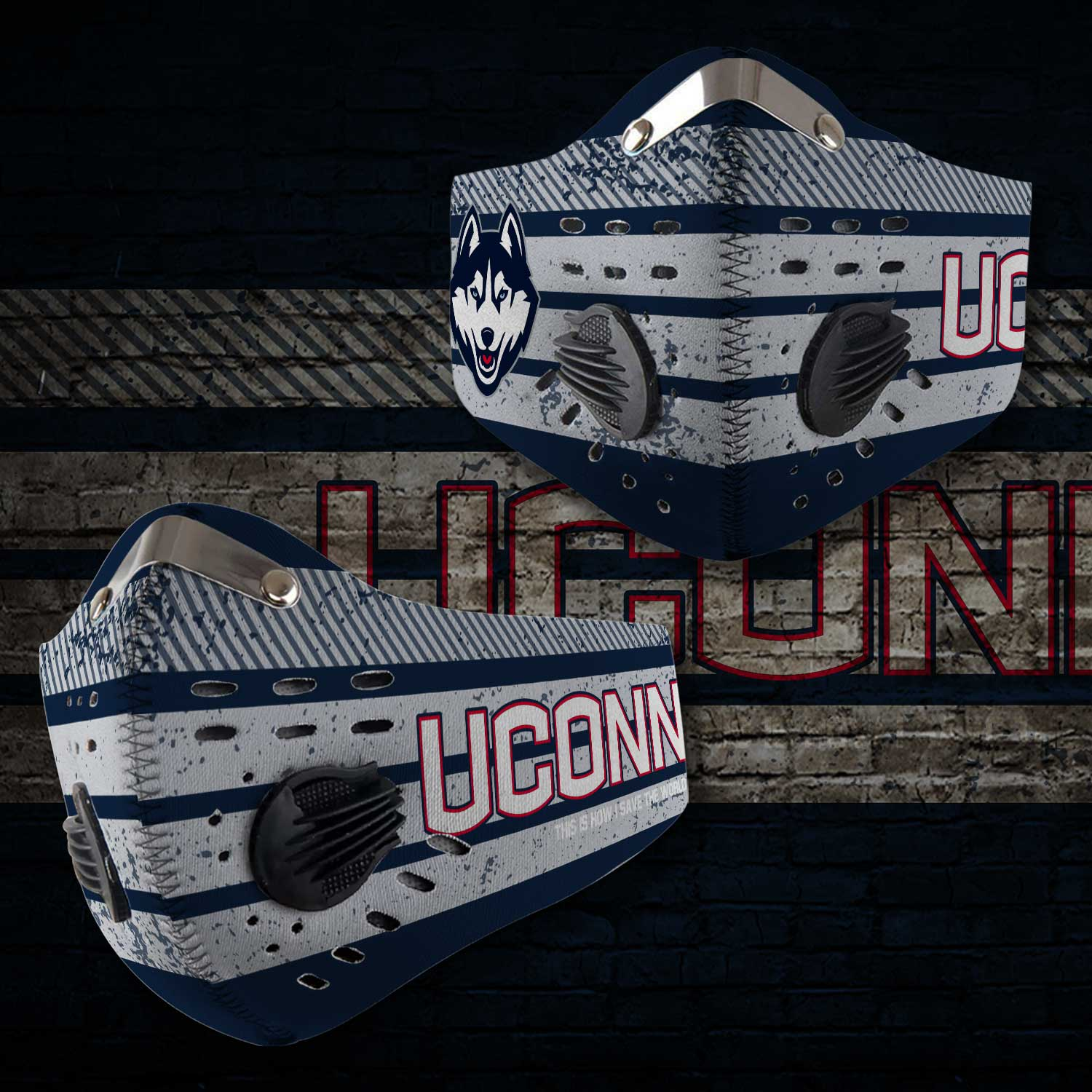 UConn huskies this is how i save the world carbon filter face mask 1