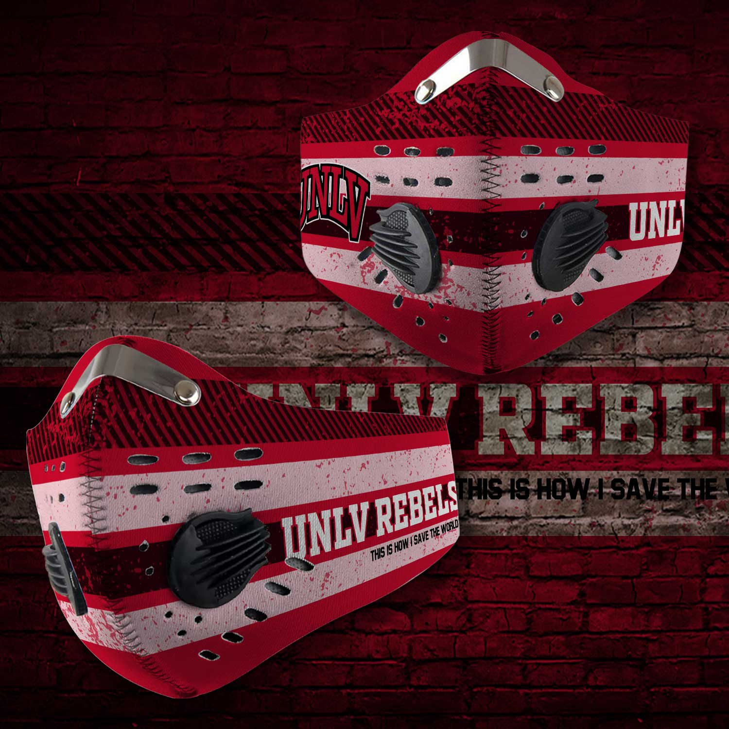 UNLV rebels this is how i save the world carbon filter face mask 2