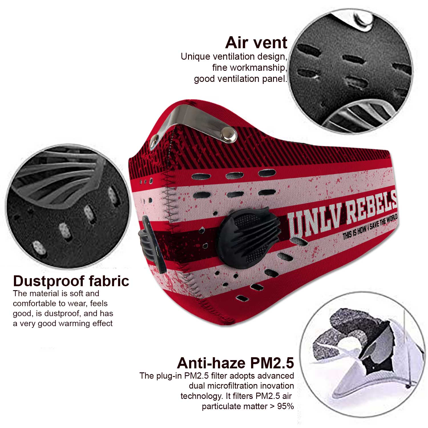 UNLV rebels this is how i save the world carbon filter face mask 3
