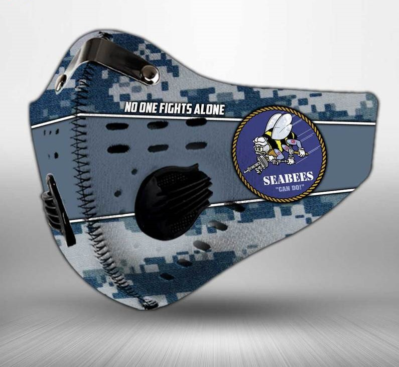 US navy seabees can do american flag camo filter activated carbon face mask 2