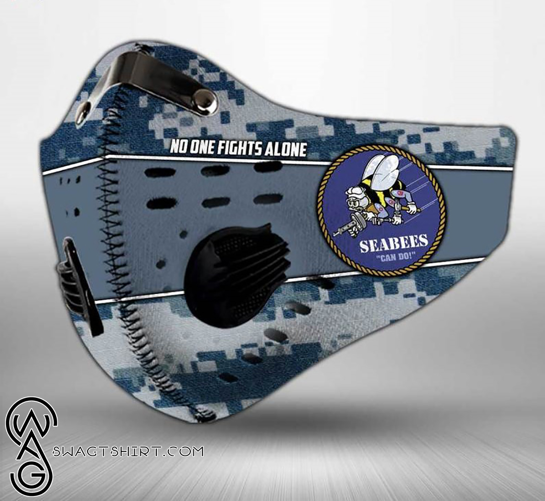 US navy seabees can do american flag camo filter activated carbon face mask