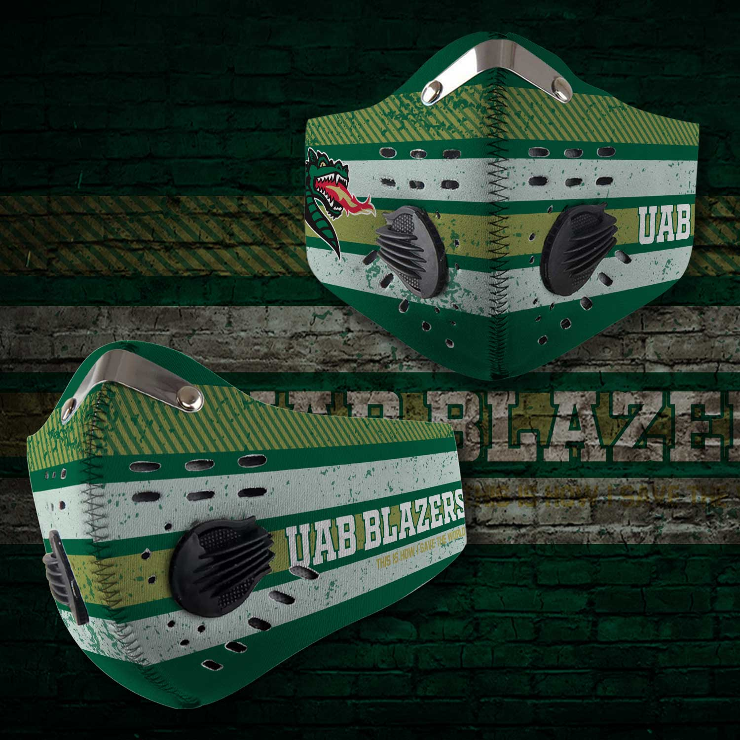 Uab blazers this is how i save the world carbon filter face mask 2