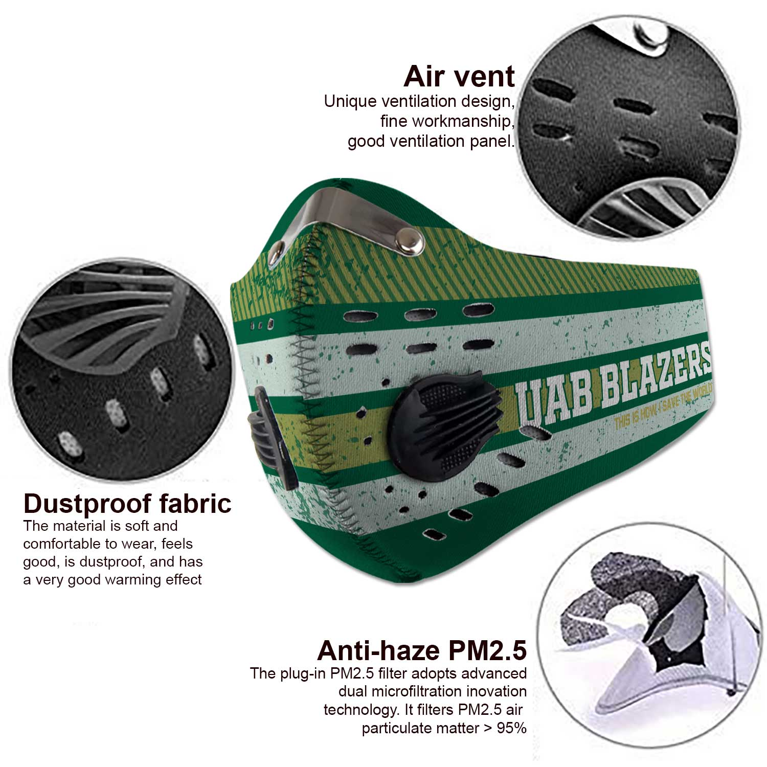 Uab blazers this is how i save the world carbon filter face mask 3