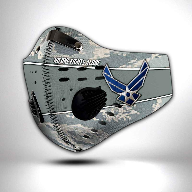 United states air force no one fights alone filter activated carbon face mask 4