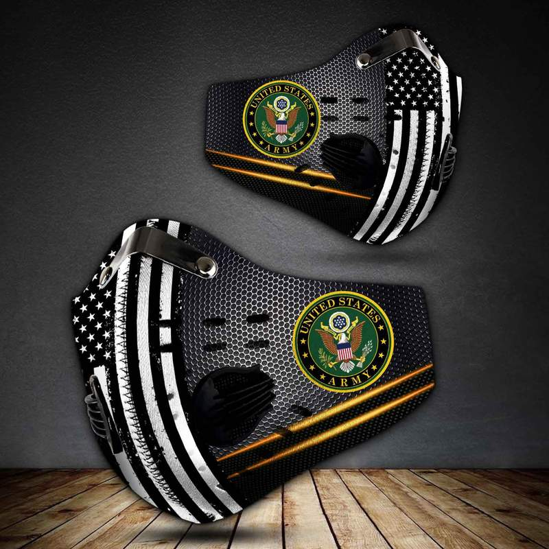 United states army american flag metallic filter activated carbon face mask 4