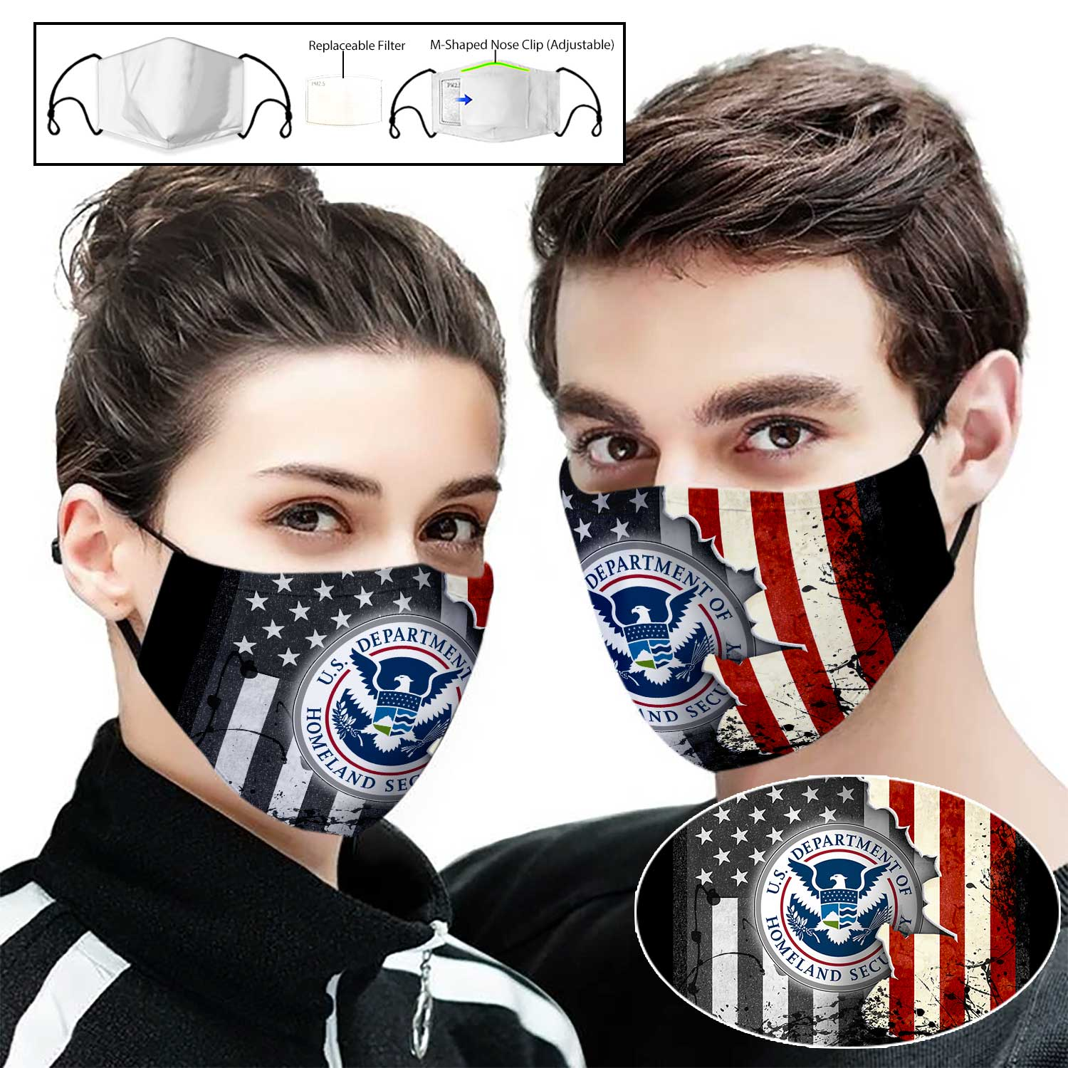United states department of homeland security american flag full printing face mask 1