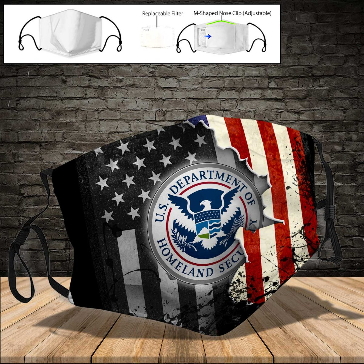 United states department of homeland security american flag full printing face mask 3