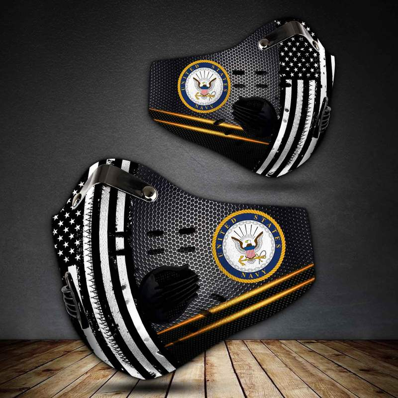 United states navy american flag metallic filter activated carbon face mask 2