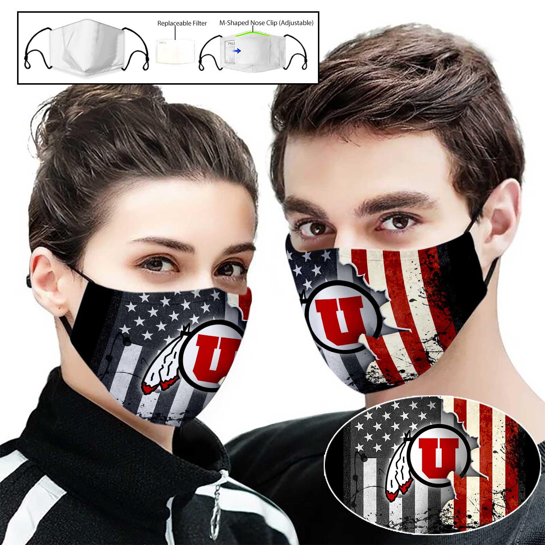 Utah utes american flag full printing face mask 2