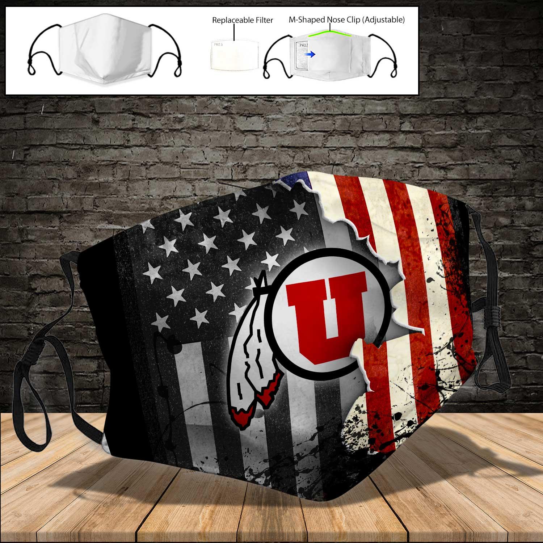 Utah utes american flag full printing face mask 3