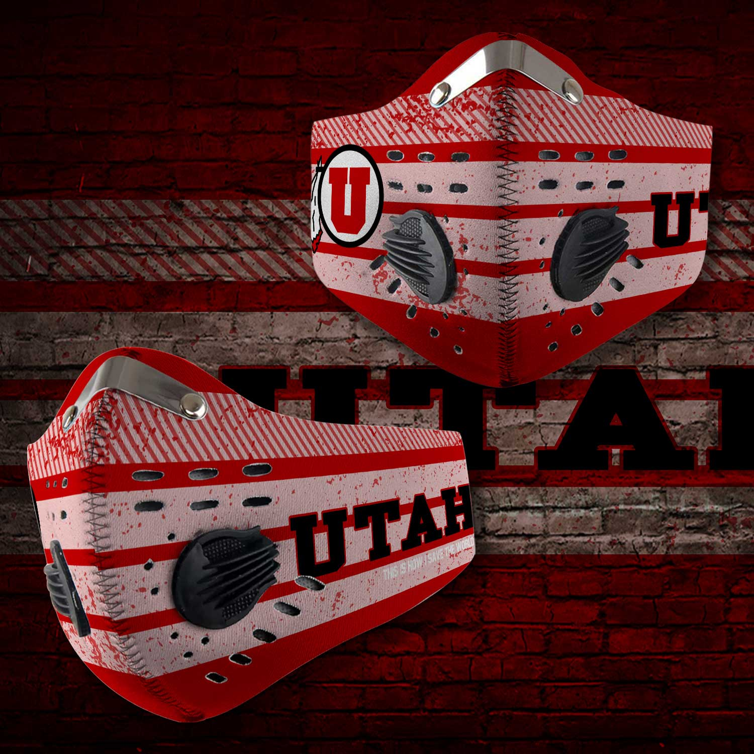 Utah utes football this is how i save the world carbon filter face mask 2