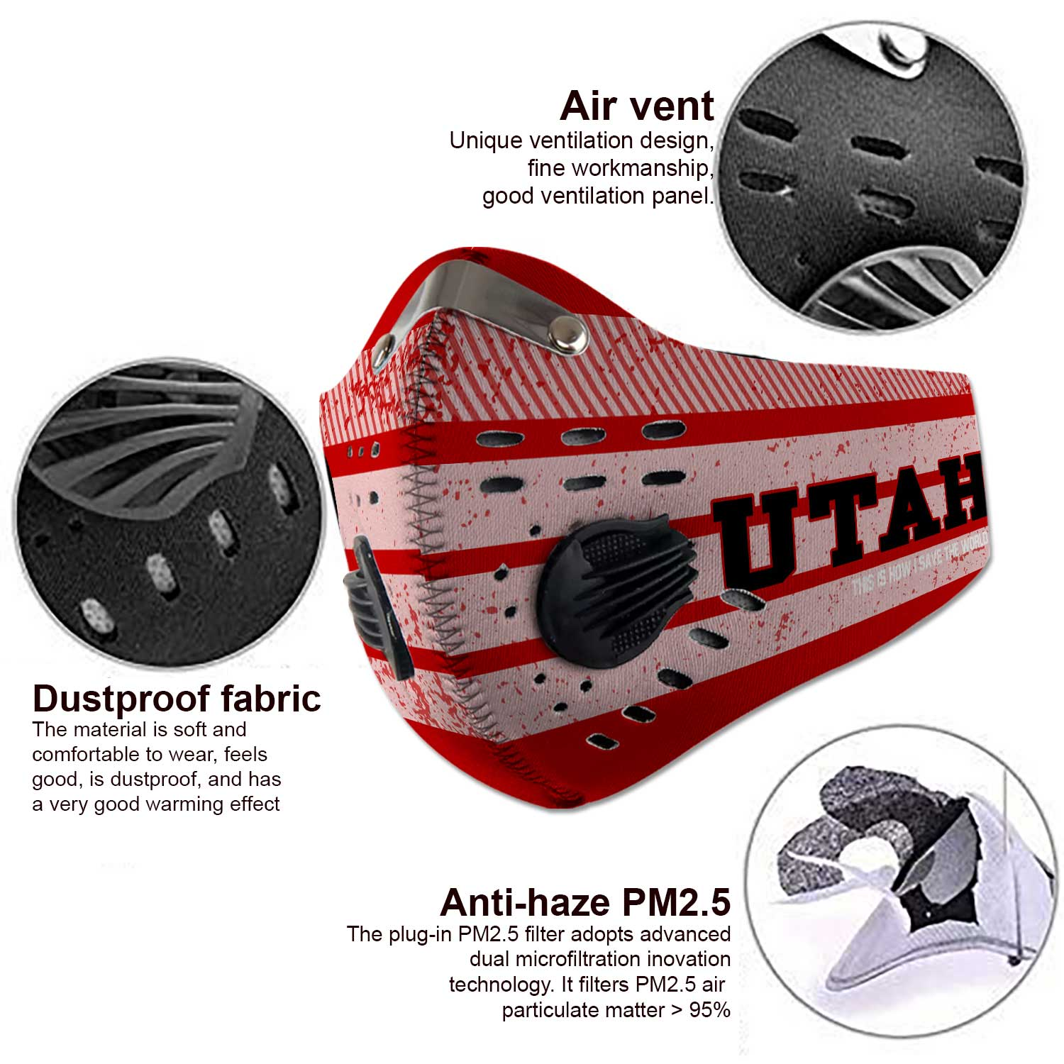 Utah utes football this is how i save the world carbon filter face mask 3