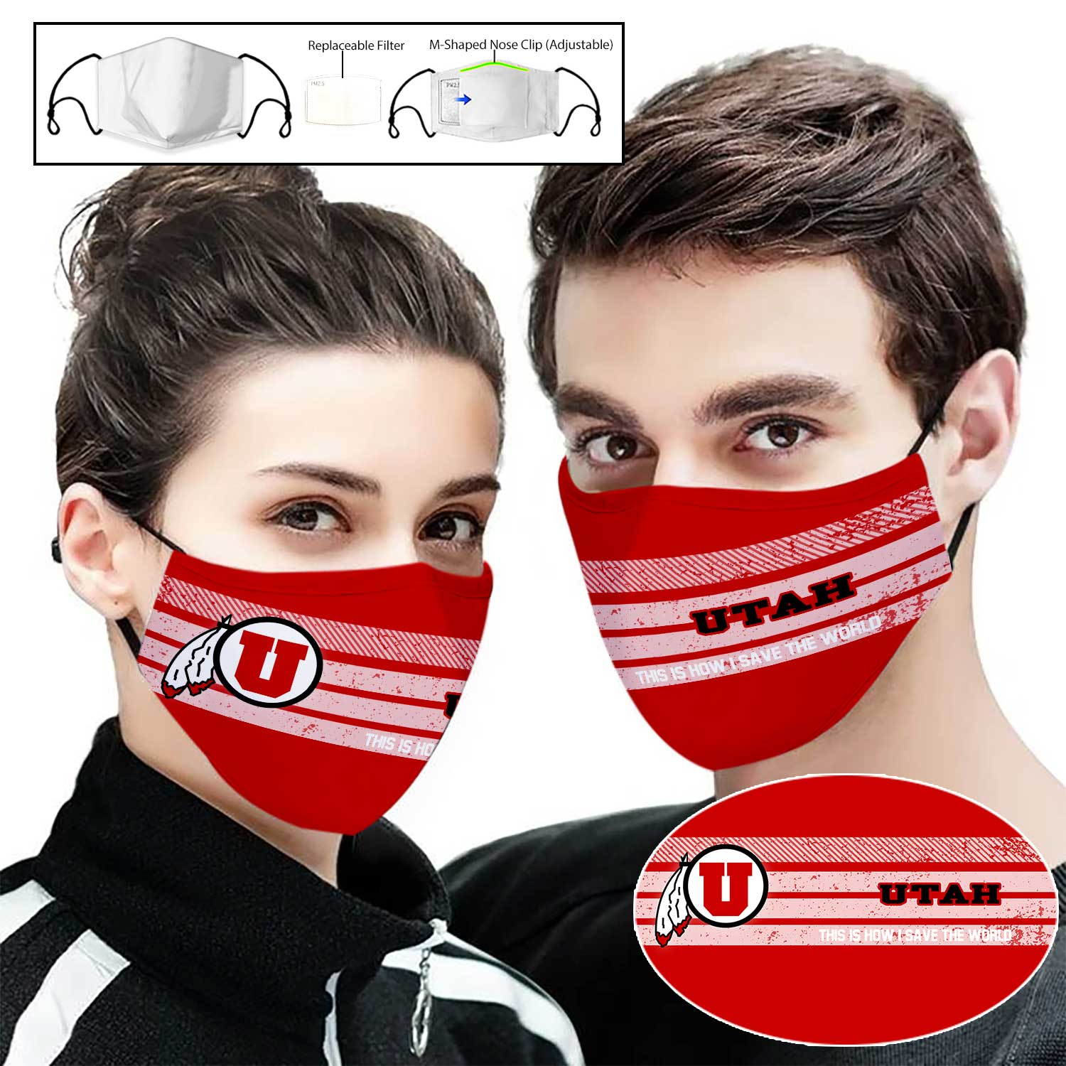 Utah utes this is how i save the world full printing face mask 1