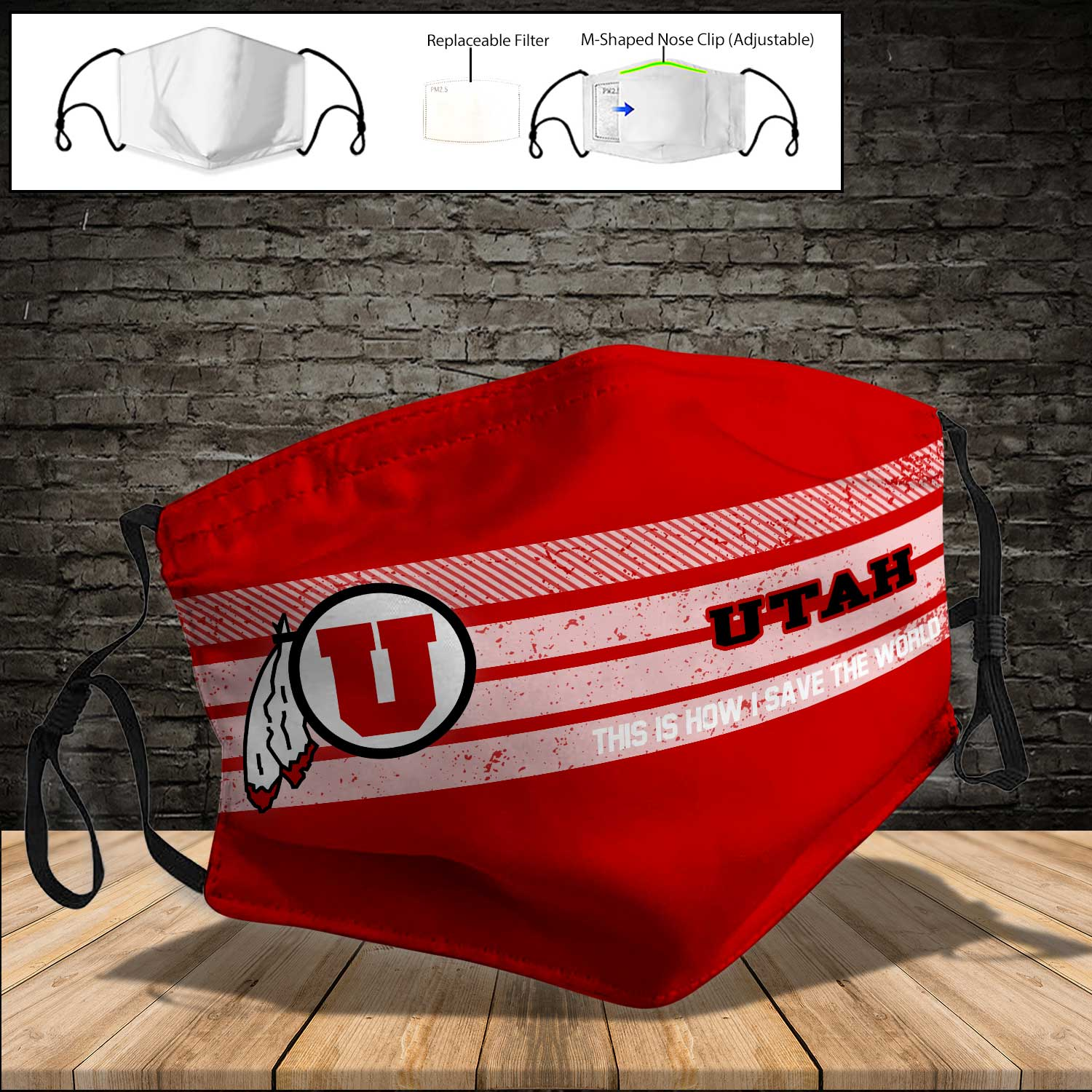 Utah utes this is how i save the world full printing face mask 3
