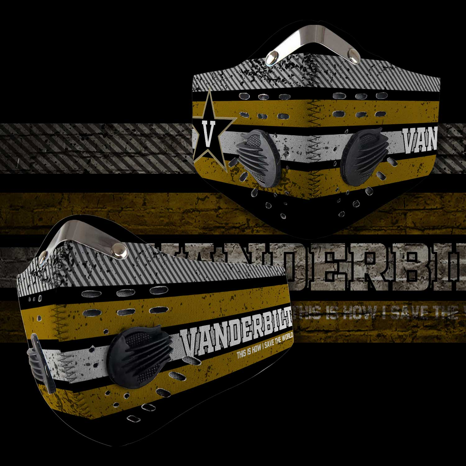 Vanderbilt commodores this is how i save the world carbon filter face mask 2