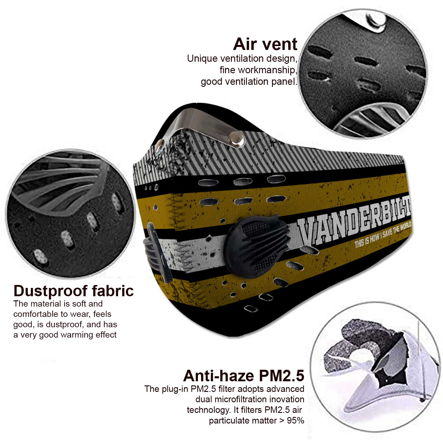Vanderbilt commodores this is how i save the world carbon filter face mask 3