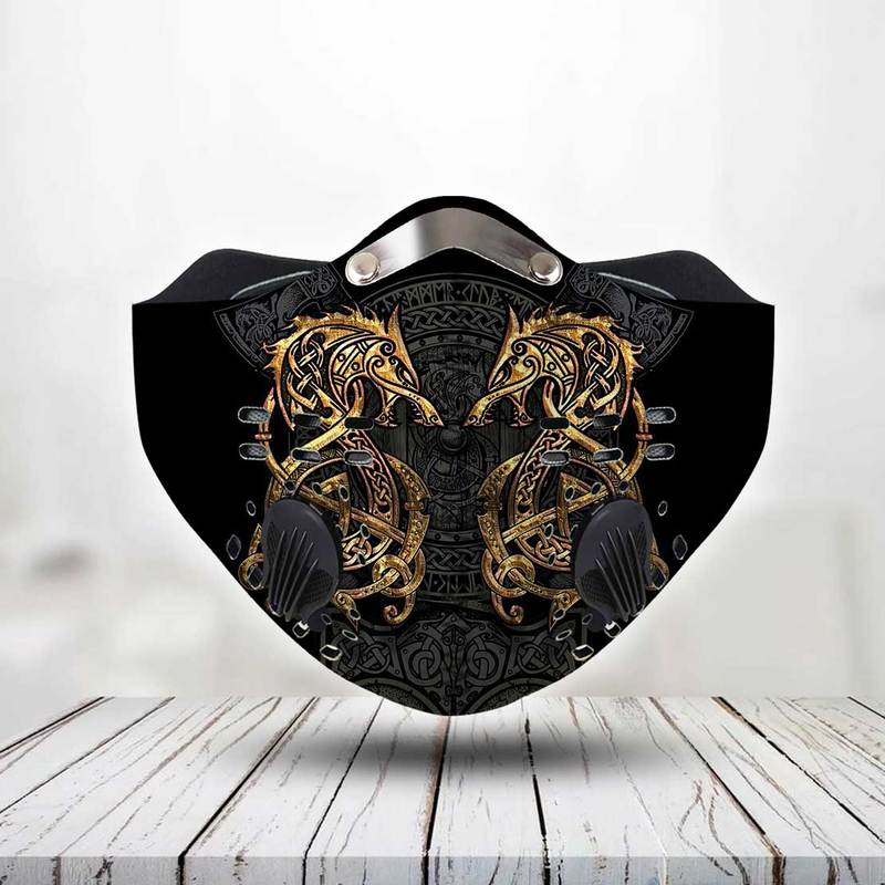 Vikings dragons anti pollution filter activated carbon face mask 2