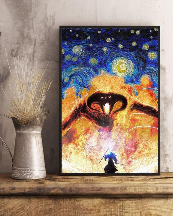 Vincent van gogh starry night lord of the rings gandalf vs balrog poster 1