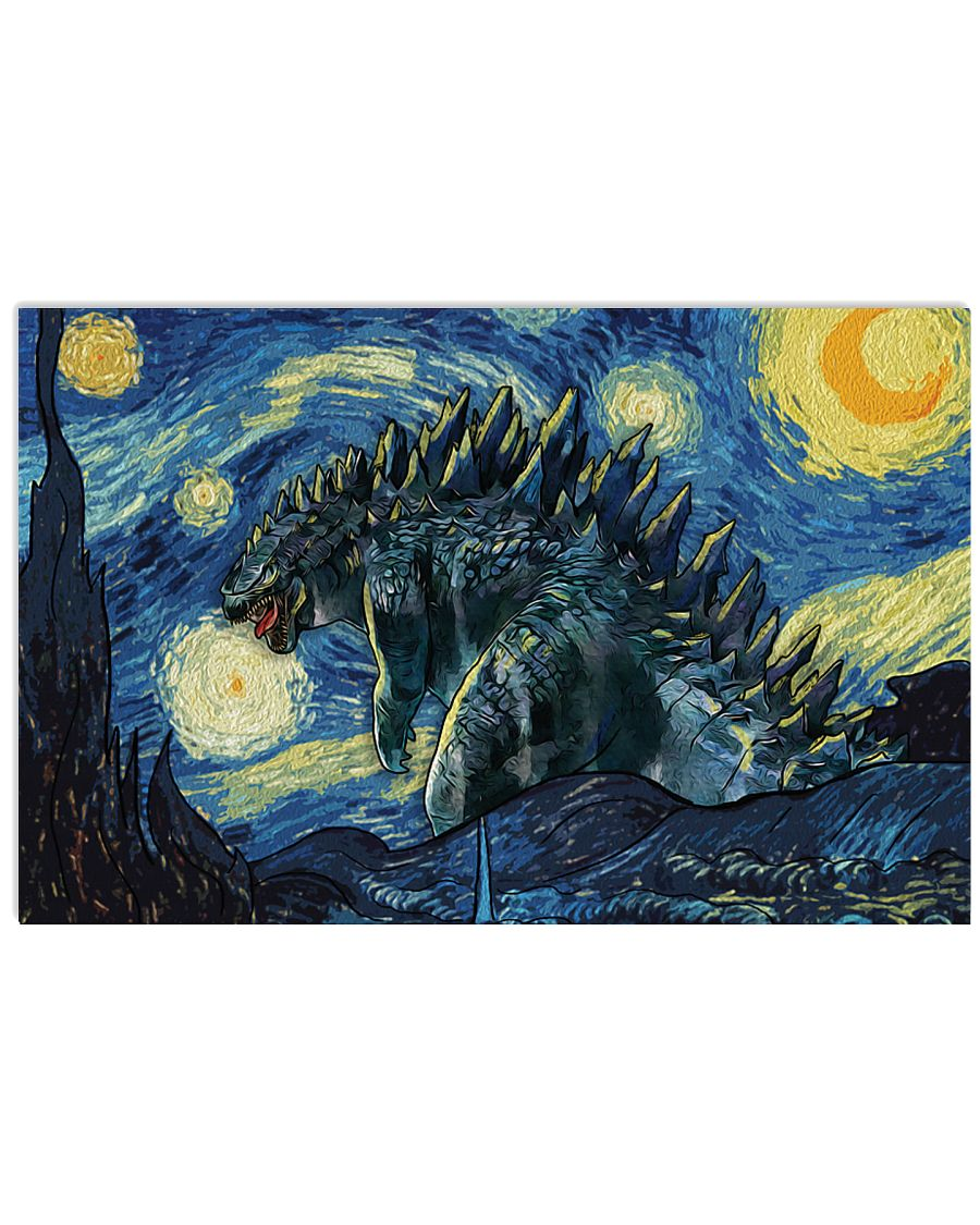 Vincent van gogh the starry night godzilla poster 2