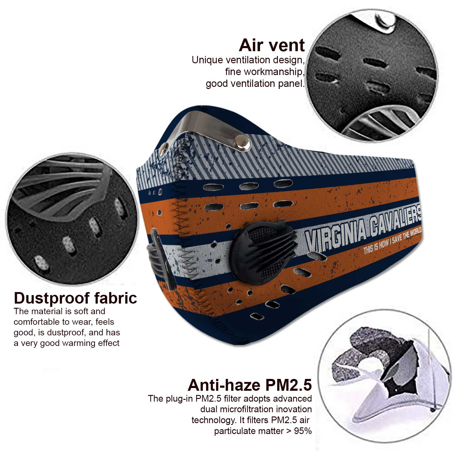 Virginia cavaliers this is how i save the world carbon filter face mask 3