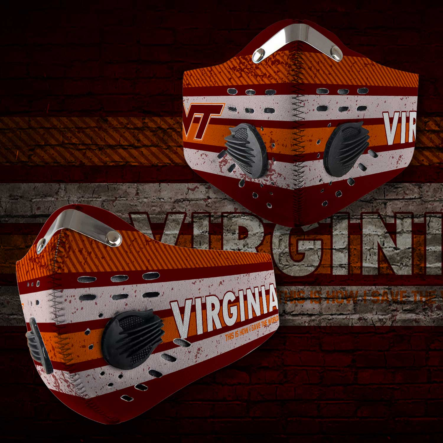 Virginia tech hokies this is how i save the world carbon filter face mask 1