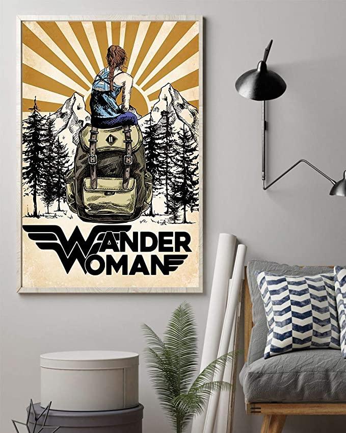 Wander woman camping retro sun poster 1