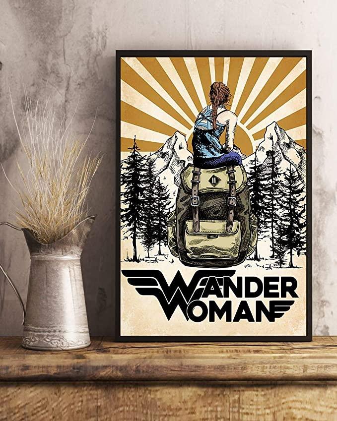 Wander woman camping retro sun poster 4