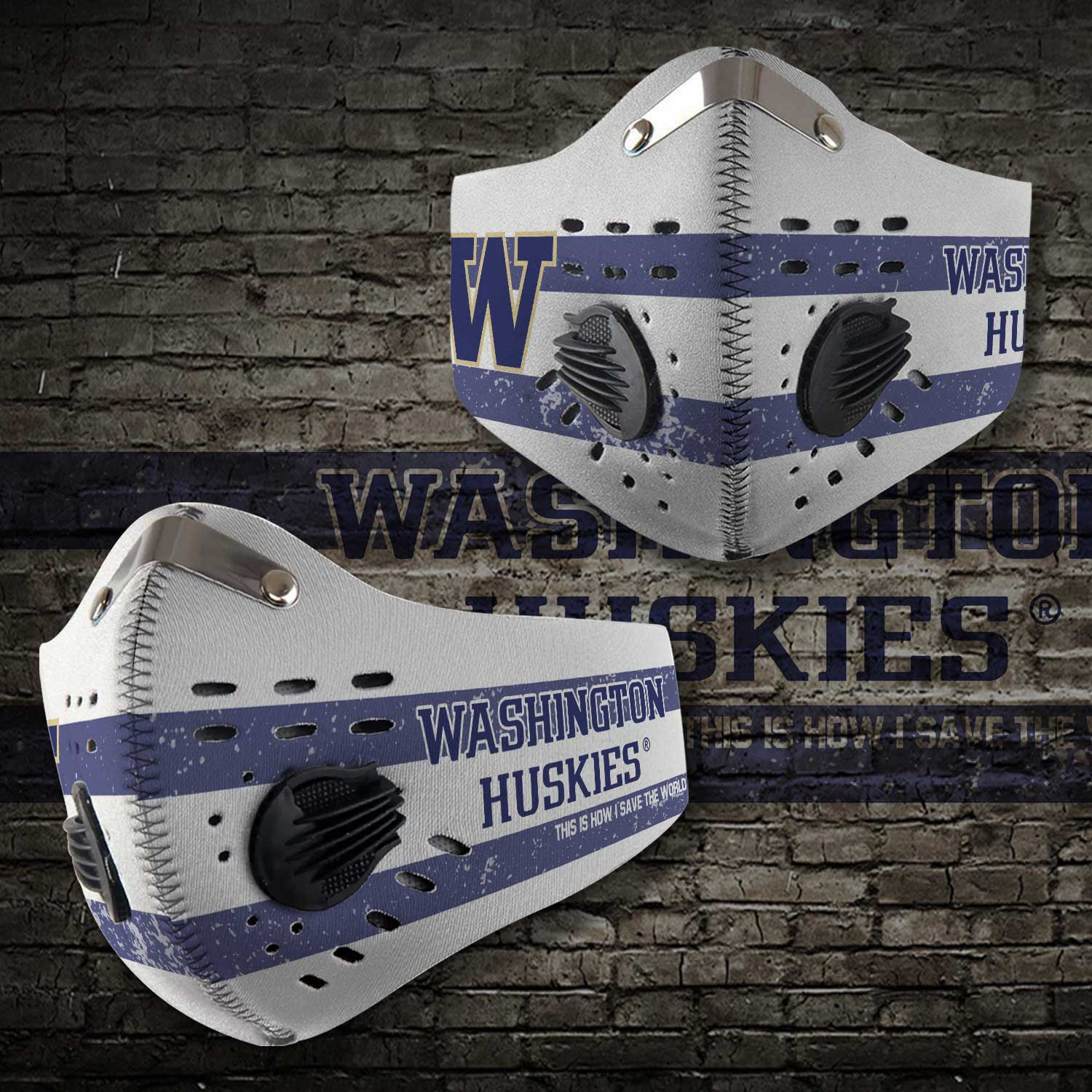 Washington huskies this is how i save the world carbon filter face mask 2