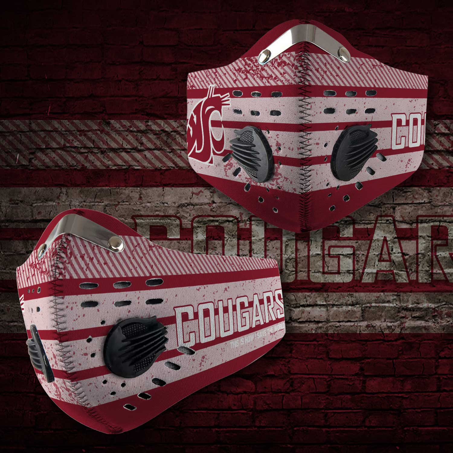 Washington state cougars this is how i save the world face mask 1