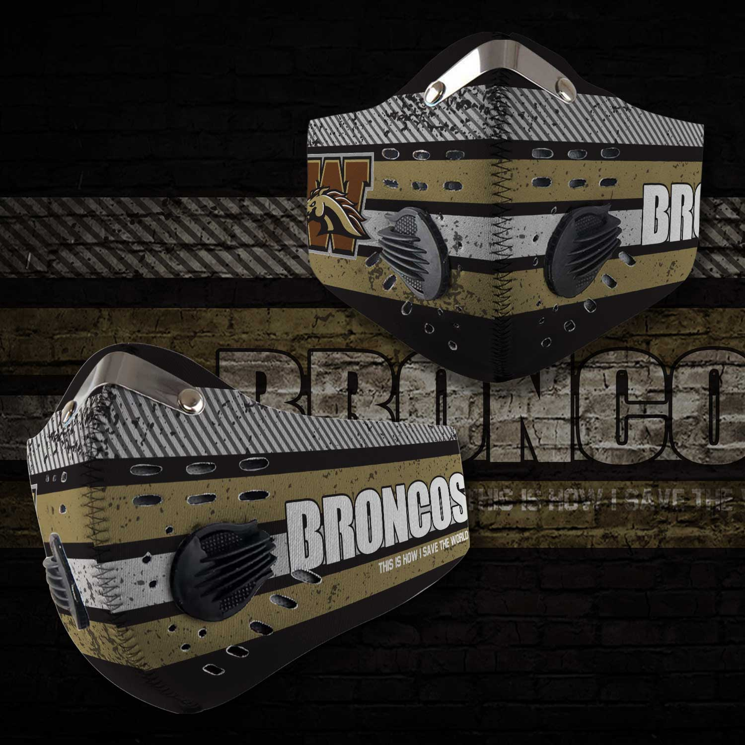 Western michigan broncos this is how i save the world face mask 2