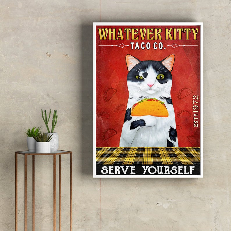 Whatever kitty serve yourself taco co vintage poster 1