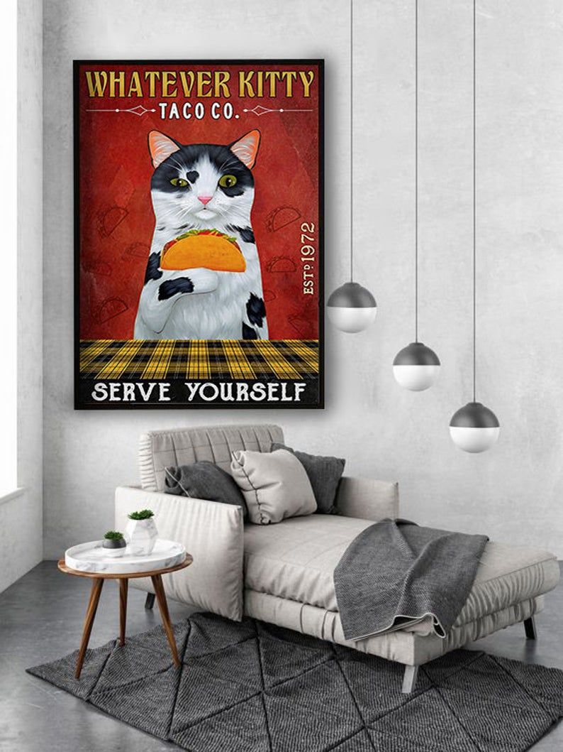 Whatever kitty serve yourself taco co vintage poster 3