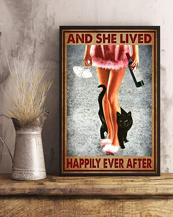 Wine and black cat and she lived happily ever after poster 4