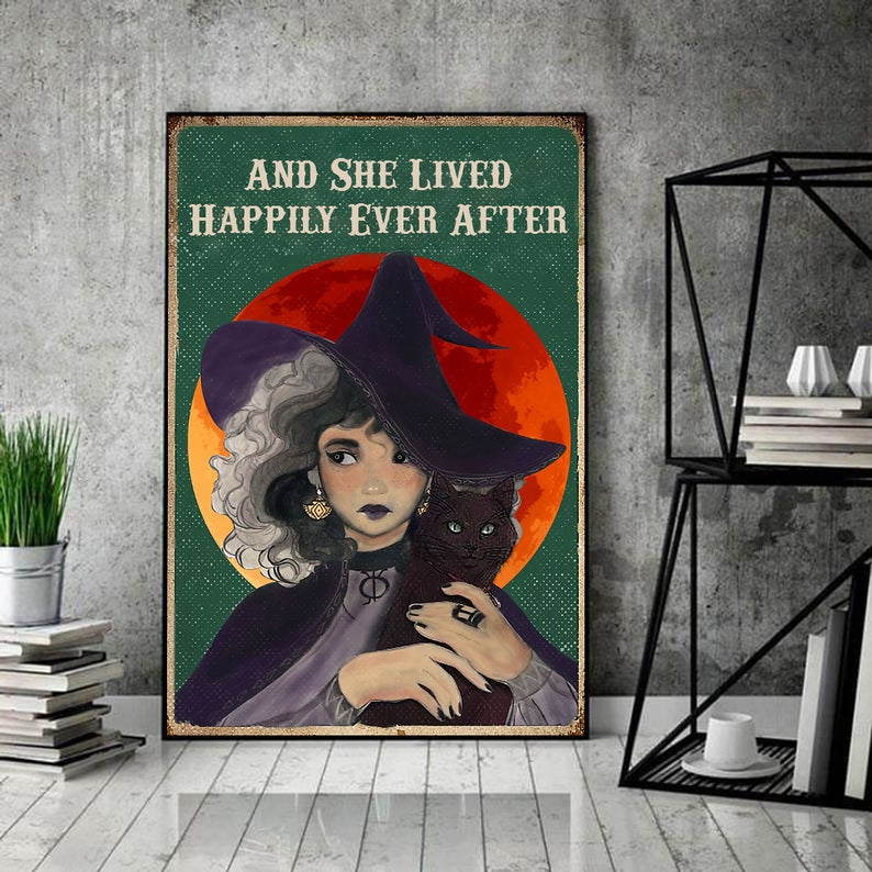 Witch and she lived happily ever after black cat vintage poster 2