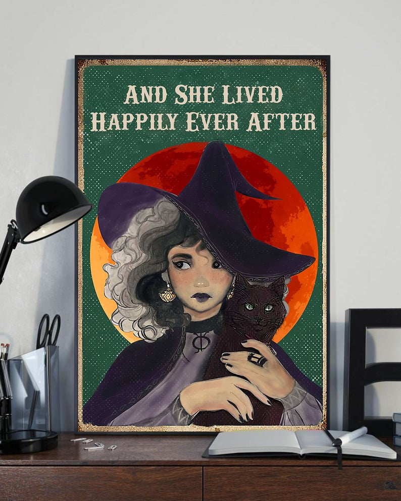 Witch and she lived happily ever after black cat vintage poster 3