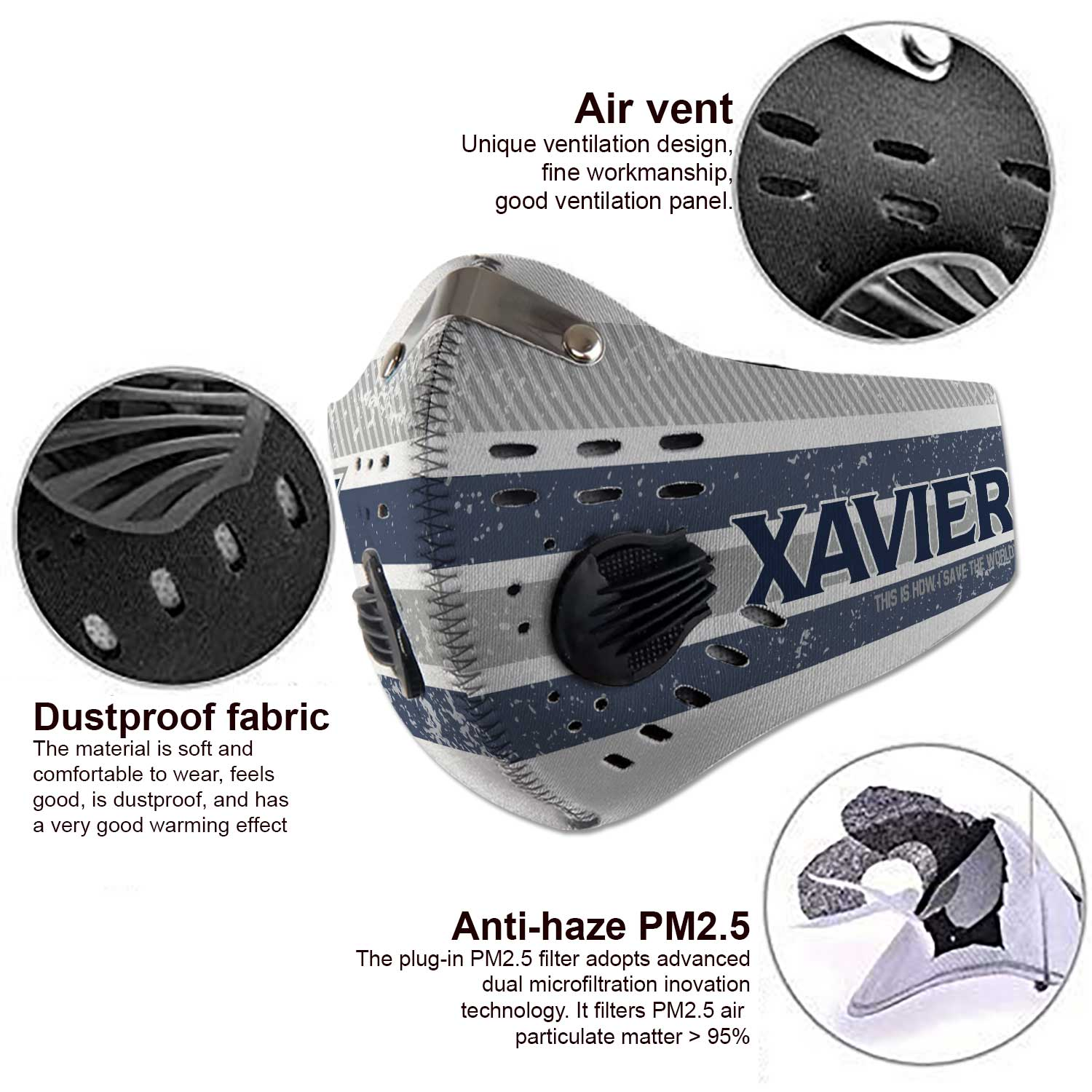 Xavier musketeers this is how i save the world carbon filter face mask 3