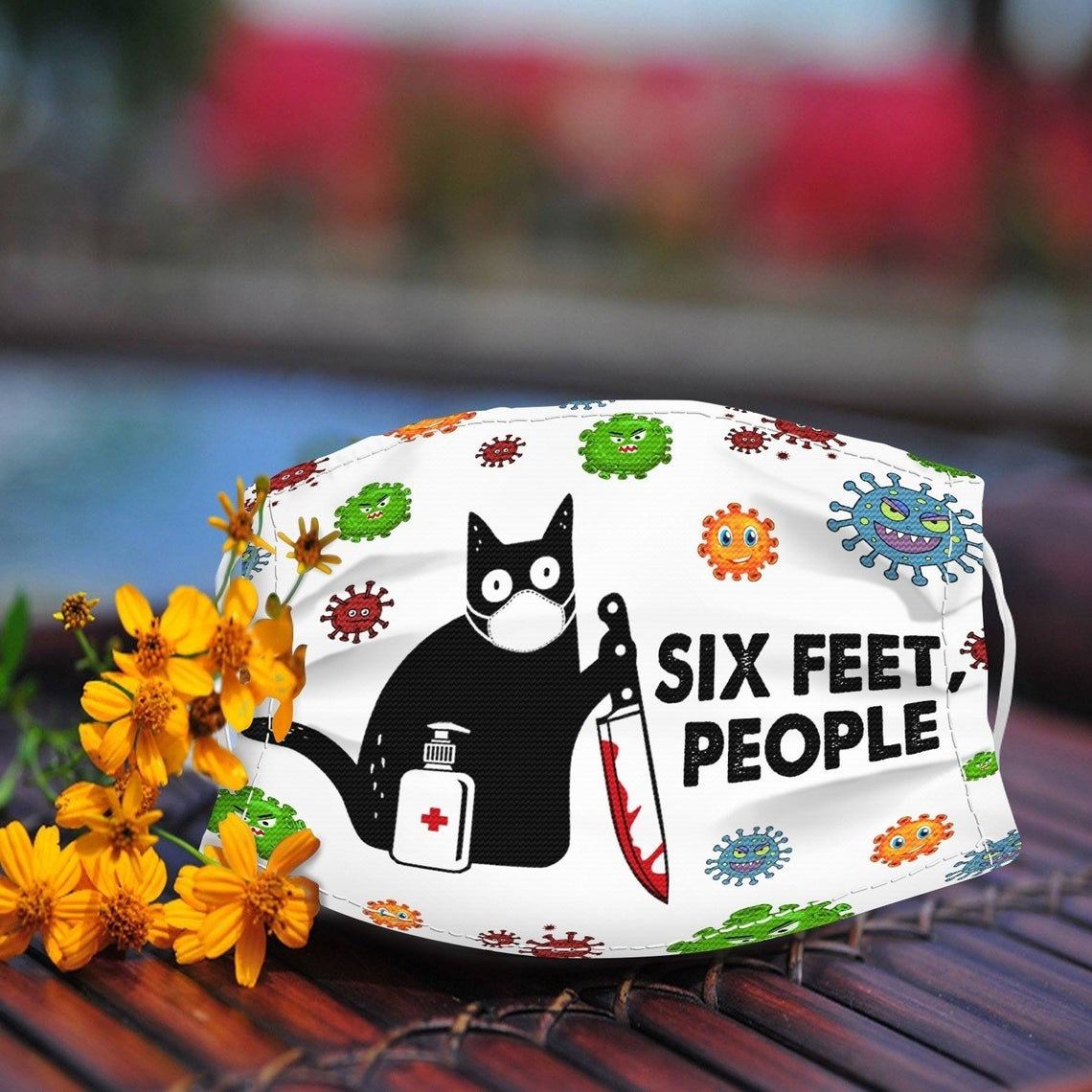 Black cat with knife six feet people full printing face mask 1