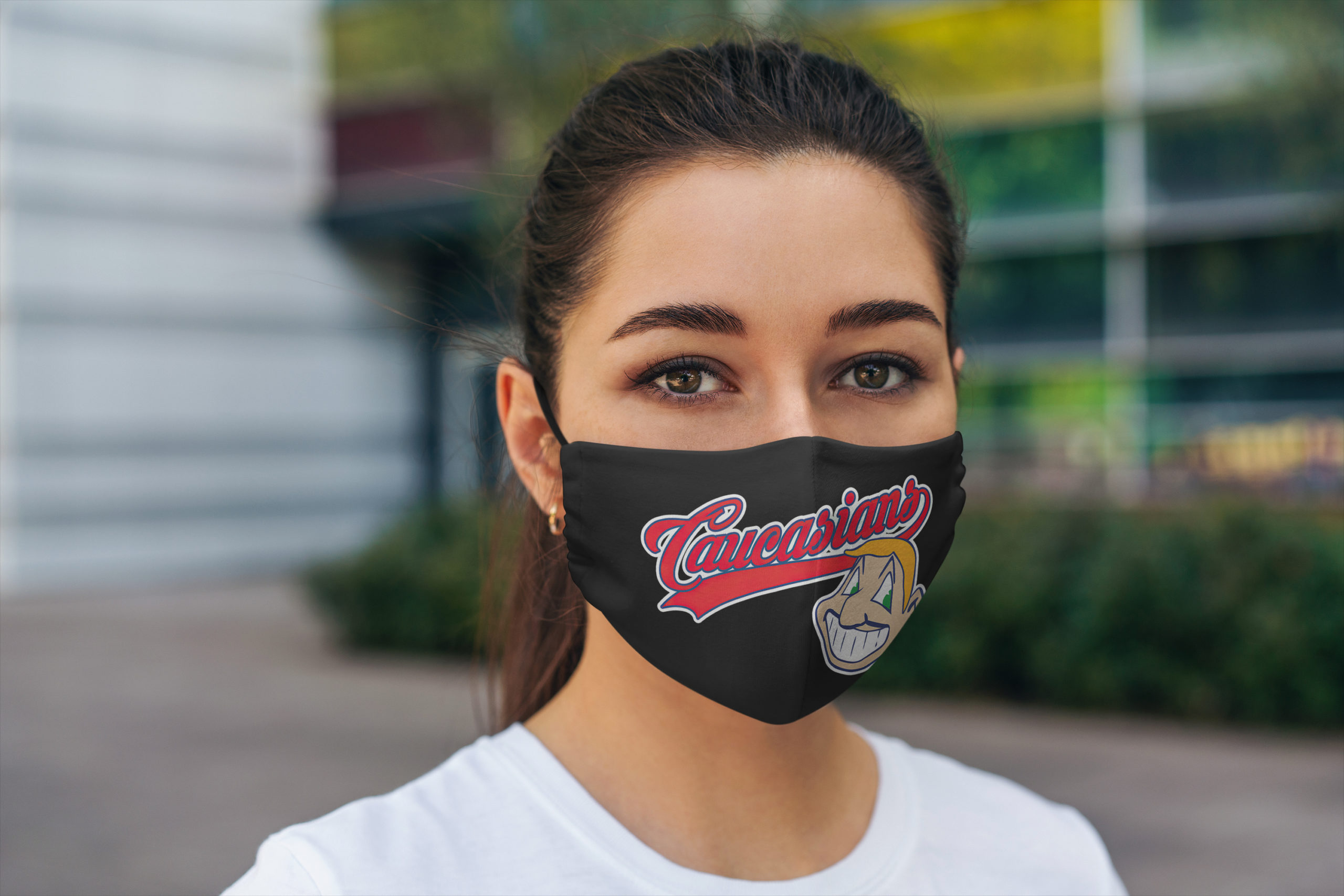 Caucasians cleveland indians full over printed face mask 4