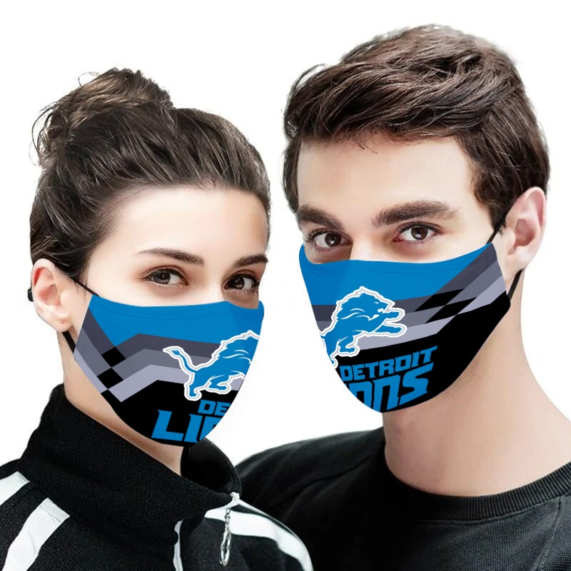 Detroit lions team full over printed face mask 1