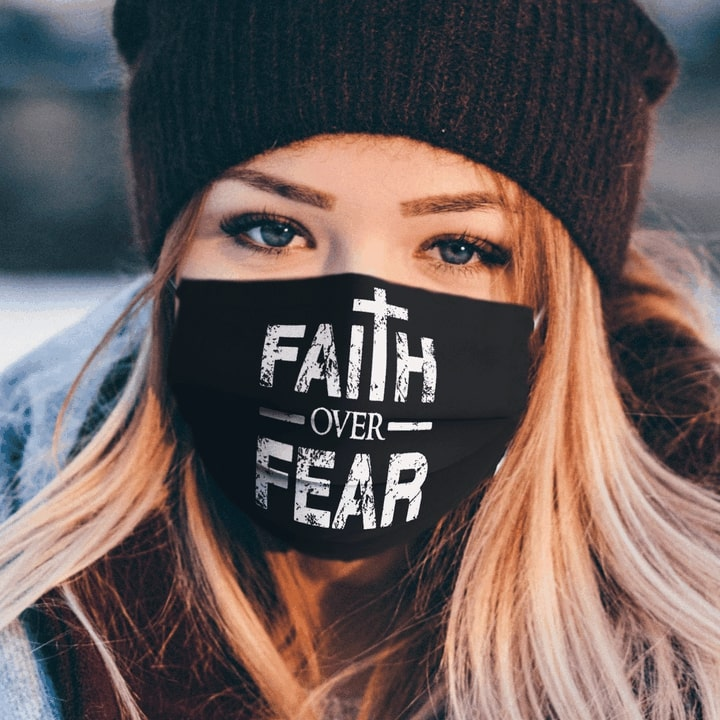 Faith over fear full over printed face mask 1