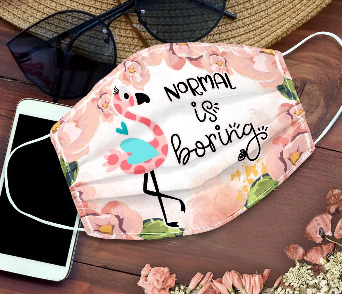 Floral flamingo normal is boring anti pollution face mask 4