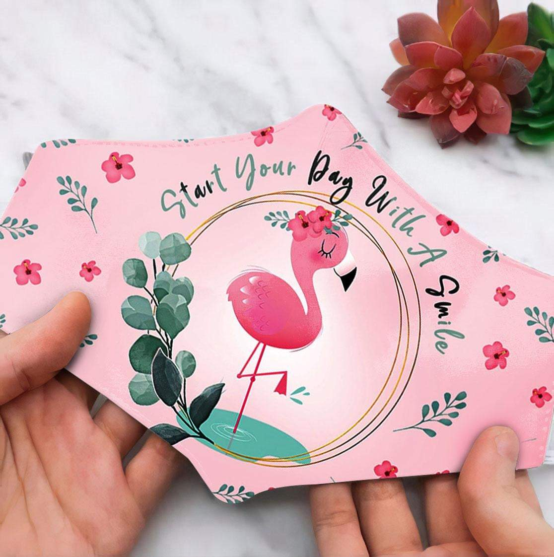 Floral flamingo start your day with a smile anti pollution face mask 3
