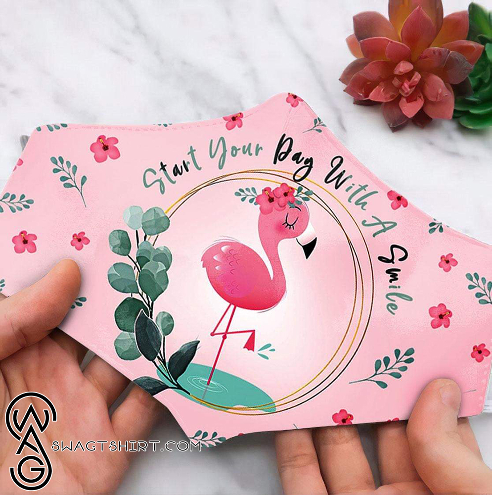 Floral flamingo start your day with a smile anti pollution face mask(1)