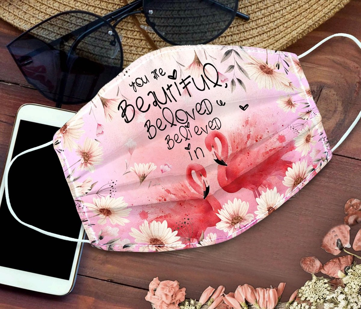 Floral flamingo you are beautiful beloved believe in face mask 2