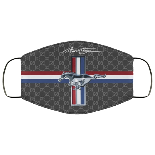 Ford mustang symbol full over printed face mask 3