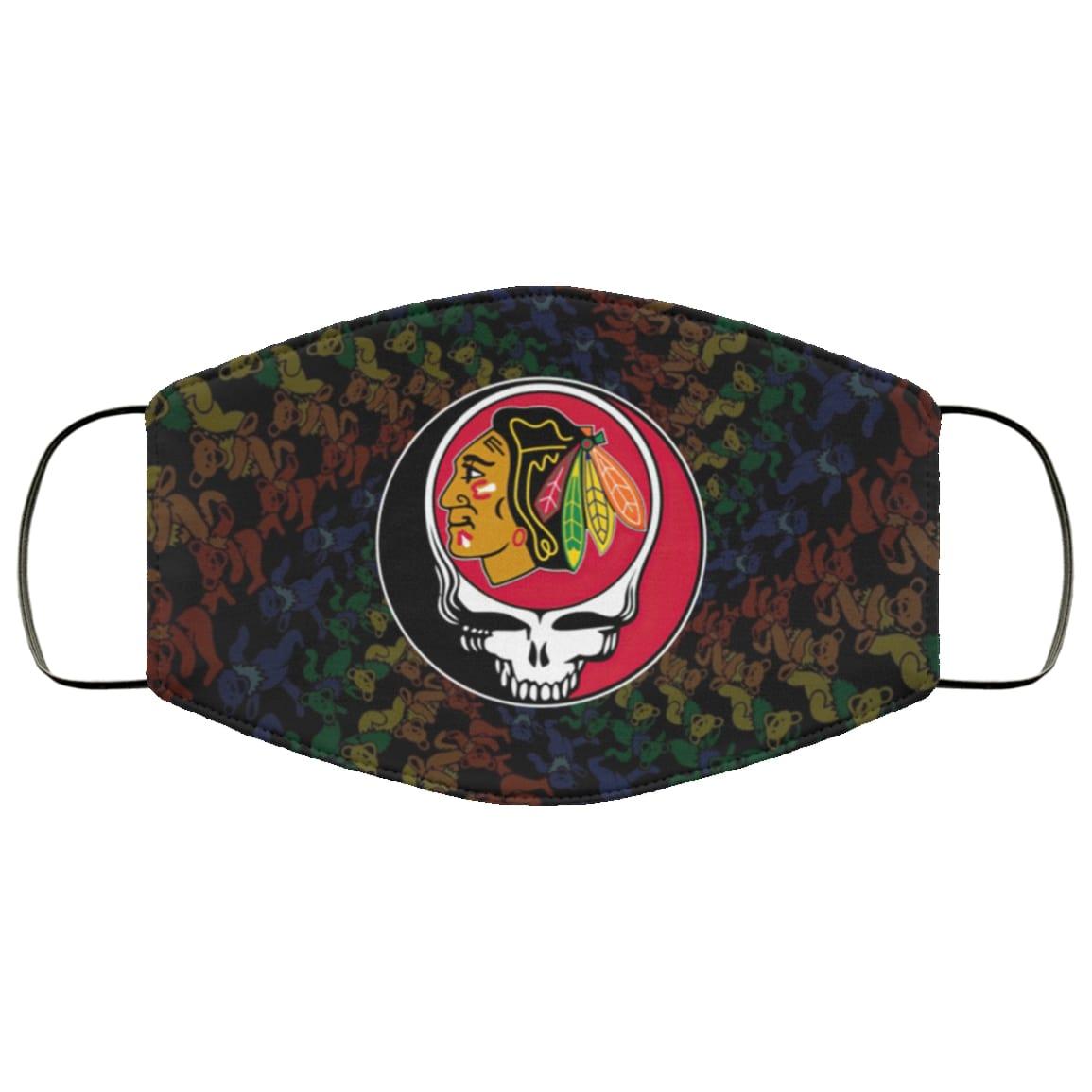 Grateful dead chicago blackhawks full over printed face mask 1